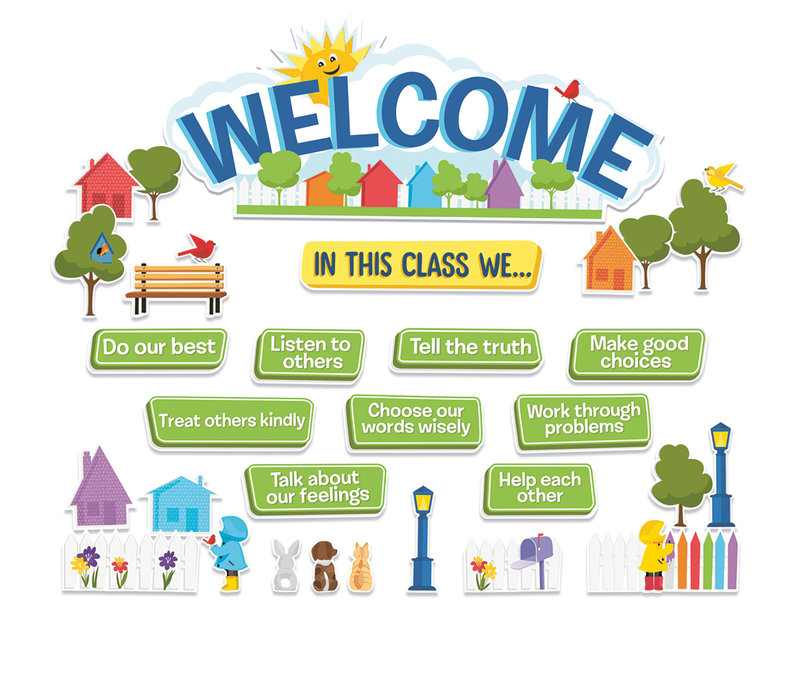 A Teachable Town in This Class Welcome Bulletin Board Set *