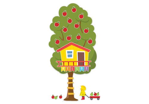 EUREKA A Teachable Town Large Seasonal Tree House Bulletin Board Set *