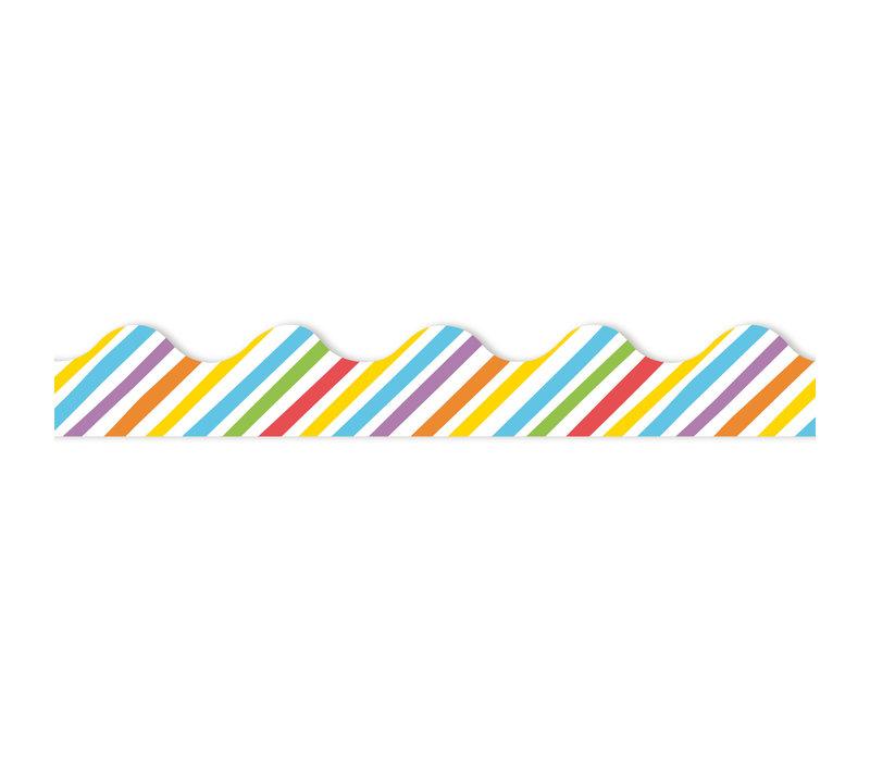 Rainbow Stripes Scalloped Border *
