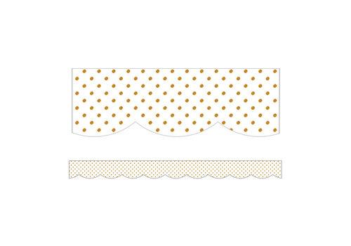Carson Dellosa Simply BOHO White with Gold Dots Scalloped Border *