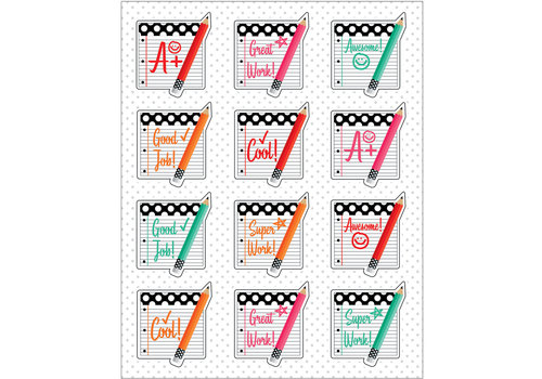 Carson Dellosa Stylish Brights Motivators Shape Stickers *