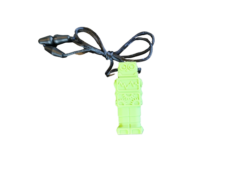 Munching Monster Chewlery Robot Chewable Tool Necklace- lime green