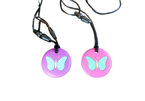 Munching Monster Chewlery Butterfly Chewable Necklace- pink
