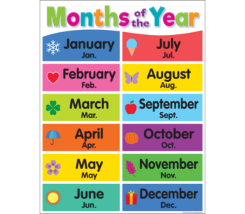 Colorful Months of the Year Chart *