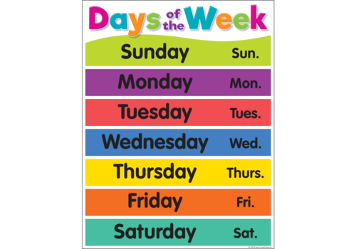 Teacher Created Resources Colorful Days of the Week Chart *