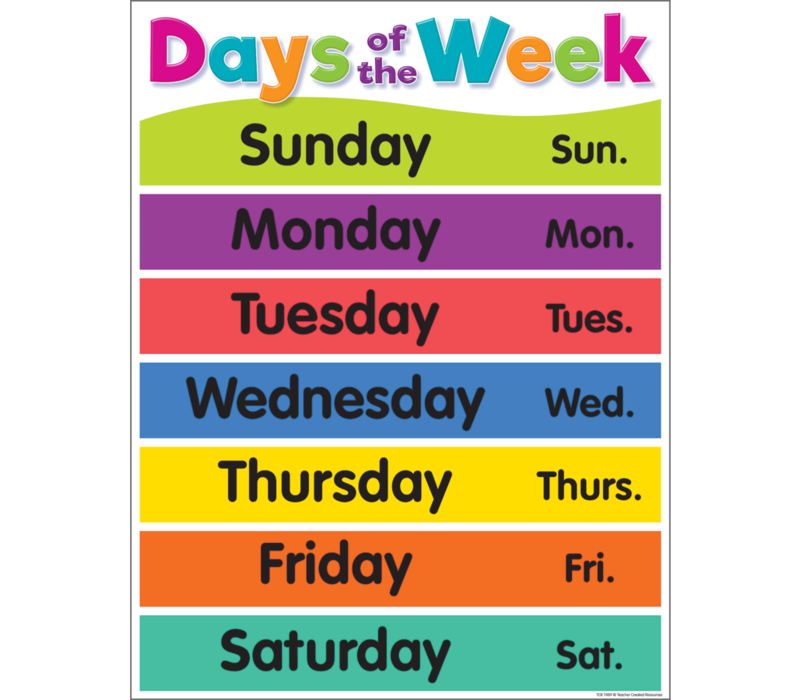 Colorful Days of the Week Chart *