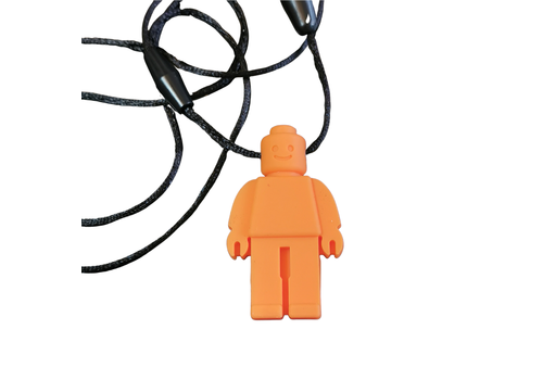 Munching Monster Chewlery Lego Person Chewy Necklace Orange