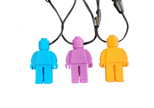 Munching Monster Chewlery Lego Person Chewy Necklace Blue*