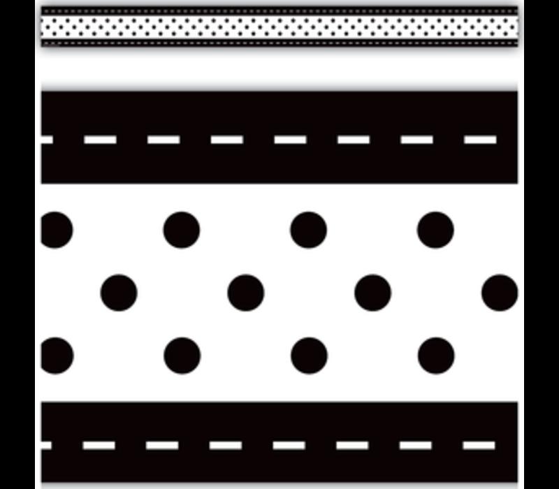 Black & White Stitch 'n' Dots Straight Border Trim *