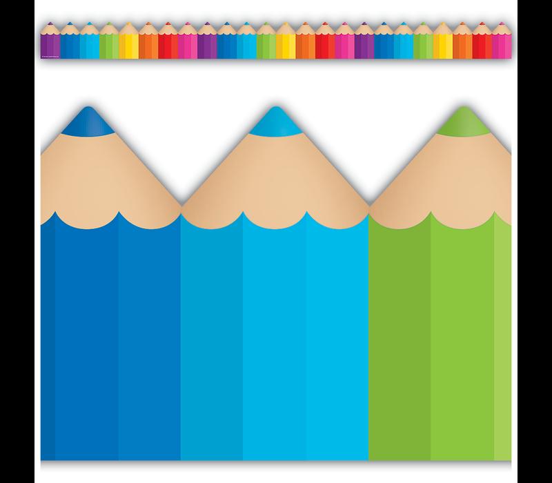 Colored Pencils Die-Cut Border Trim *