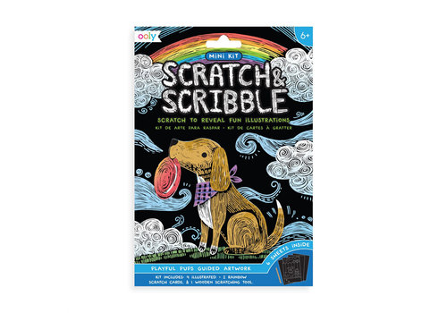 ooly Mini Scratch & Scribble Art Kit:  Playful Pups (7 pc set) *