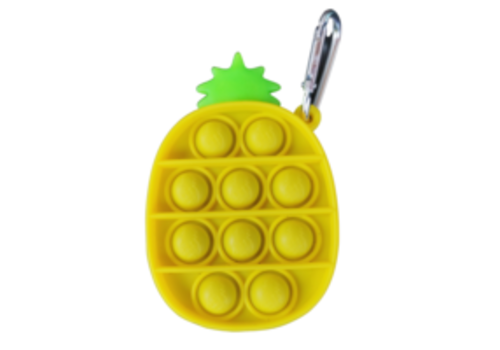 Munching Monster Yellow Pineapple Bubble Popper Keychain *