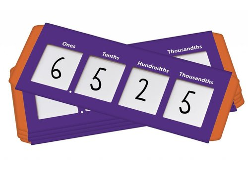 Didax Place Value Sliders: Thousanths to Ones, set of 10