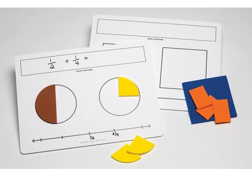 Didax Write-On/Wipe-Off Fraction Mats, set of 10