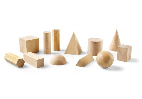 Learning Resources Wooden Geometric Solids, Set of 12
