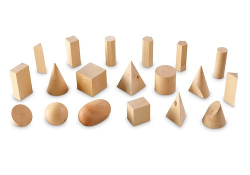 Learning Resources Wooden Geometric Solids, Set of 19