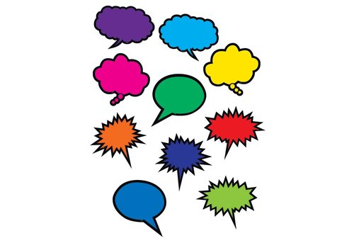 Teacher Created Resources Colorful Speech/Thought Bubbles Accents
