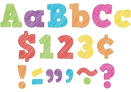 "Teacher Created Resources Scribble Bold Block 4"" Letters Combo Pack"