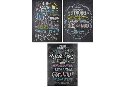 Creative Teaching Press Bible Verses in Chalk Rejoice Inspire U Poster 3-Pack *