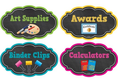 Teacher Created Resources Chalkboard Brights Supply Labels