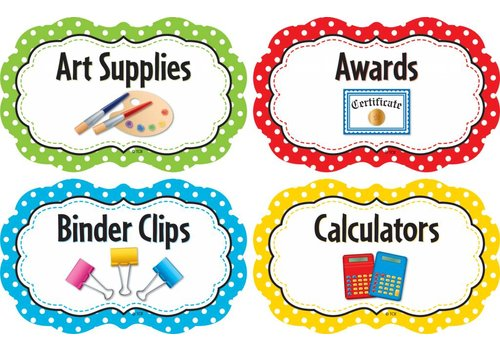 Teacher Created Resources Polka Dots Supply Labels *