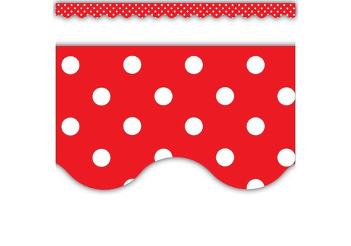 Teacher Created Resources Red Polka Dots Scalloped Border Trim