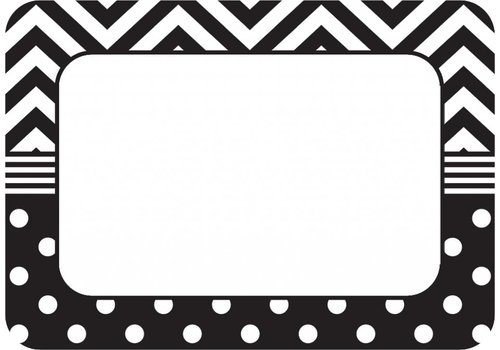 Teacher Created Resources Black & White Chevrons and Dots Name Tags/Labels