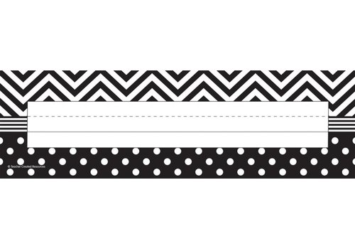 Teacher Created Resources Black & White Chevrons and Dots Flat Name Plates