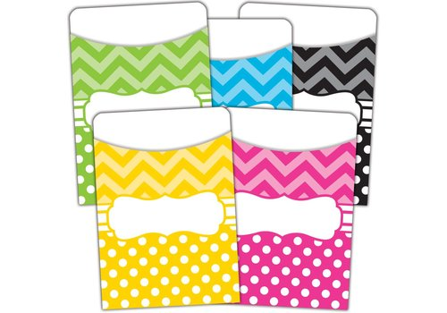 Teacher Created Resources Chevrons and Dots Library Pockets - Multi-Pack