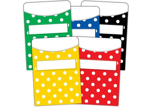 Teacher Created Resources Polka Dots Library Pockets - Multi-Pack