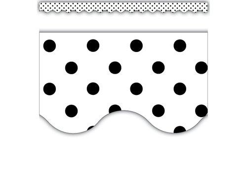 Teacher Created Resources Black Polka Dots on White Scalloped Border Trim *