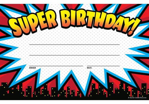 Teacher Created Resources Superhero Super Birthday Awards