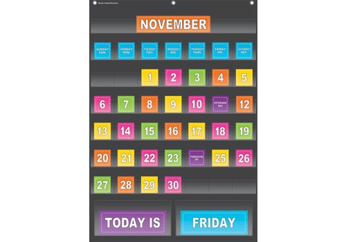 "Teacher Created Resources Black Calendar Pocket Chart (25"" x 36"")"