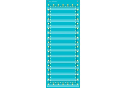 "Teacher Created Resources Light Blue Marquee 14 Pocket Chart (13"" x 34"")"