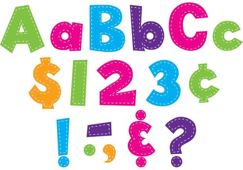 "Teacher Created Resources Multi Bright Stitch 4"" Fun Font Letters"