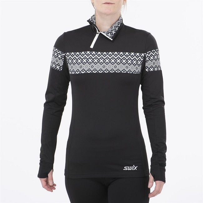SWIX MYRENE - WOMEN ASYMETRIC 1/2 ZIP  NORDIC SWEATER  10001P BLACK/WHITE XS