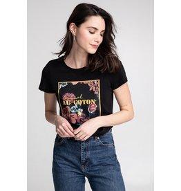 AU COTON T-shirt Rectangle imprimé doré