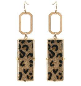 What's Hot Serendipity Earrings, AE1656, Geometric Brown Leopard Print