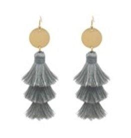 What's Hot Serendipity Earrings, QE1400, Tassel, Light Gray