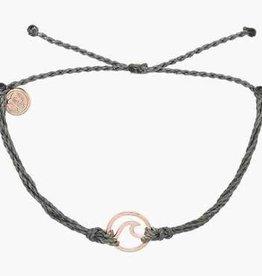 PuraVida PuraVida, Rose Gold Wave Bracelet, Grey