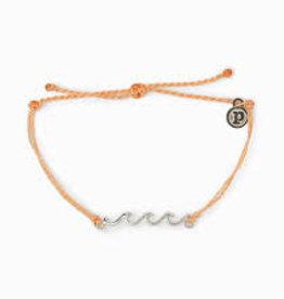PuraVida PuraVida, Silver Delicate Wave Bracelet, Peach