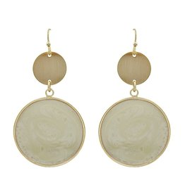 What's Hot Serendipity Earrings, QE2083, Gold Circle w/Epoxy, Natural