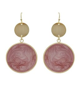 What's Hot Serendipity Earrings, QE2083, Gold Circle w/ Epoxy, PINK