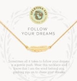 """Spartina 449 Spartina 449, SLV Necklace 18"""", Follow Your Dreams/Feather"""