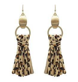 What's Hot Serendipity Earrings, QE2213, Leopard Wrapped Tassel