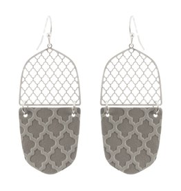 What's Hot Serendipity Earrings, CE2280, Silver/Grey Leather Filigree