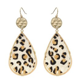 What's Hot Serendipity Earrings, AE1102LEO, White Leopard  Coin Dangle