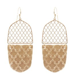 What's Hot Serendipity Earrings, CE2280, Gold Leather Filigree