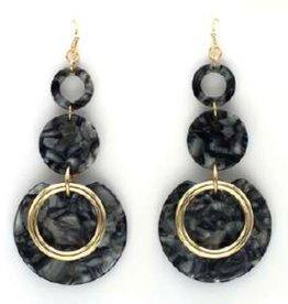 What's Hot Serendipity Earrings, 4916E-4, Black Acrylic Circle Tier