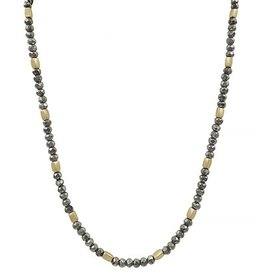 What's Hot Serendipity Necklace, Hematite & Gold Beads